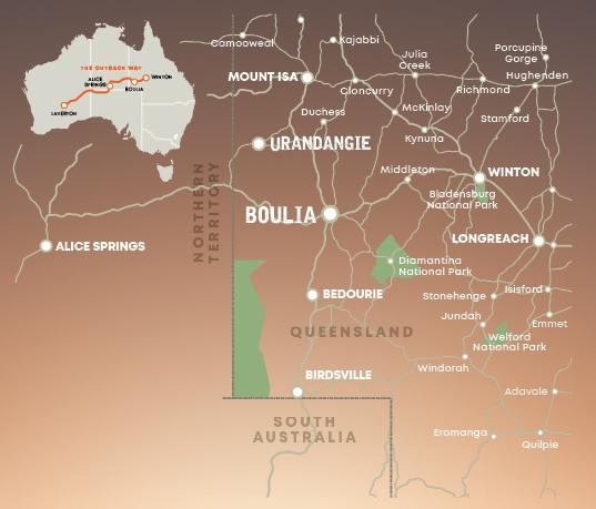 Map of region surrounding Boulia